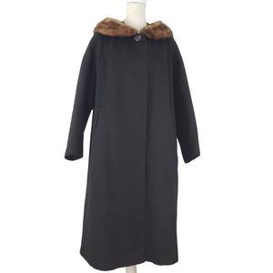 Vintage Glam Handmade Wool Overcoat w/ Mink Collar